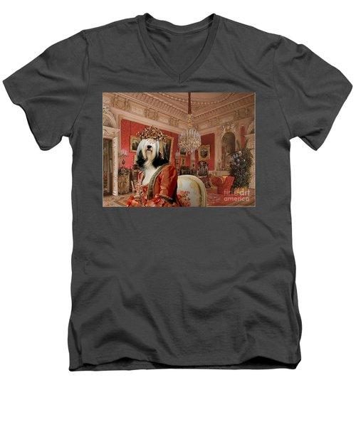 Tibetan Terrier Art Canvas Print Men's V-Neck T-Shirt