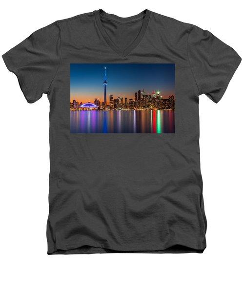 Toronto Skyline At Dusk Men's V-Neck T-Shirt