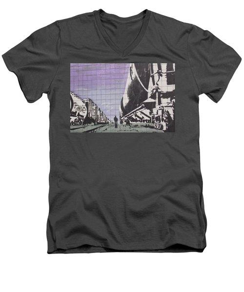 Train Graffiti  Men's V-Neck T-Shirt