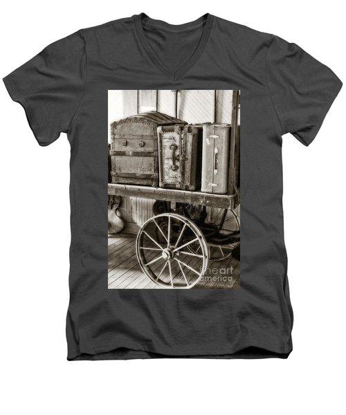 Train Station Luggage Cart Men's V-Neck T-Shirt