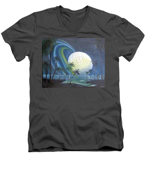 Tropical Moon Men's V-Neck T-Shirt by Catherine Swerediuk