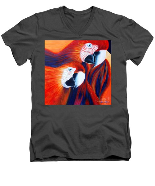Men's V-Neck T-Shirt featuring the painting Two Parrots. Inspirations Collection. by Oksana Semenchenko