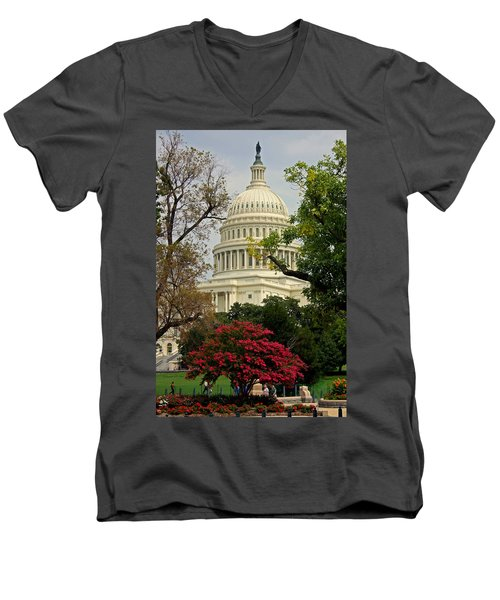 Men's V-Neck T-Shirt featuring the photograph United States Capitol by Suzanne Stout