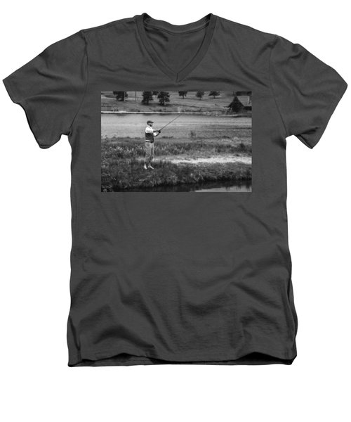 Men's V-Neck T-Shirt featuring the photograph Vintage Fly Fishing by Ron White