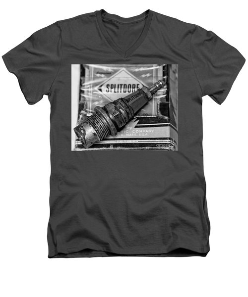 Men's V-Neck T-Shirt featuring the photograph Vintage Sparkplugs by Wilma  Birdwell