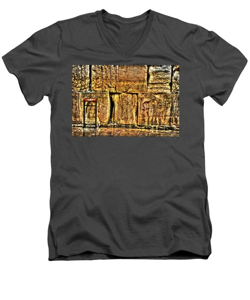 Men's V-Neck T-Shirt featuring the photograph Wailing Wall by Doc Braham