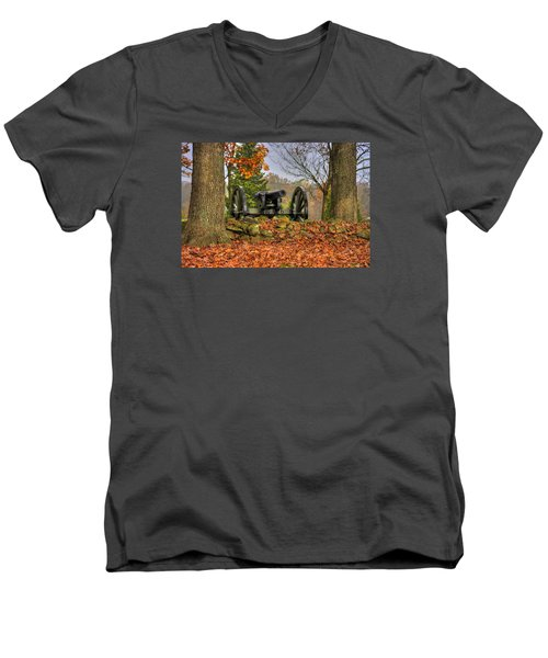 Men's V-Neck T-Shirt featuring the photograph War Thunder - The Charlotte North Carolina Artillery Grahams Battery West Confederate Ave Gettysburg by Michael Mazaika