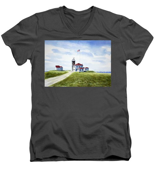Men's V-Neck T-Shirt featuring the painting Watch Hill Ri Lighthouse by Joan Hartenstein