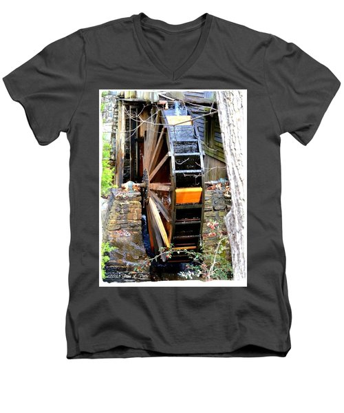 Men's V-Neck T-Shirt featuring the photograph Water Wheel by Tara Potts