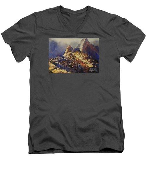 Watercolor Painting Machu Picchu Peru Men's V-Neck T-Shirt