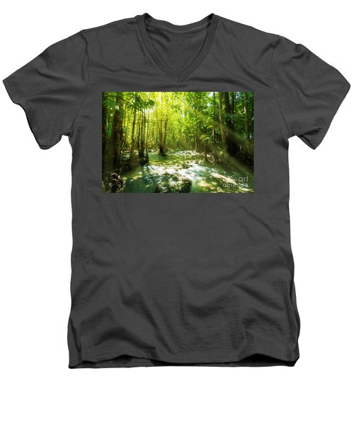 Waterfall In Rainforest Men's V-Neck T-Shirt