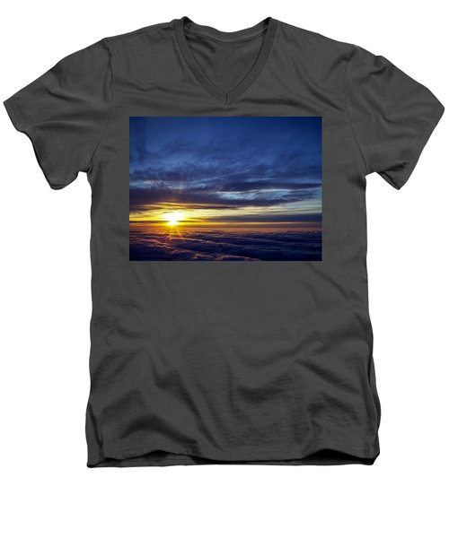 Men's V-Neck T-Shirt featuring the photograph Winter Dawn Over New England by Greg Reed
