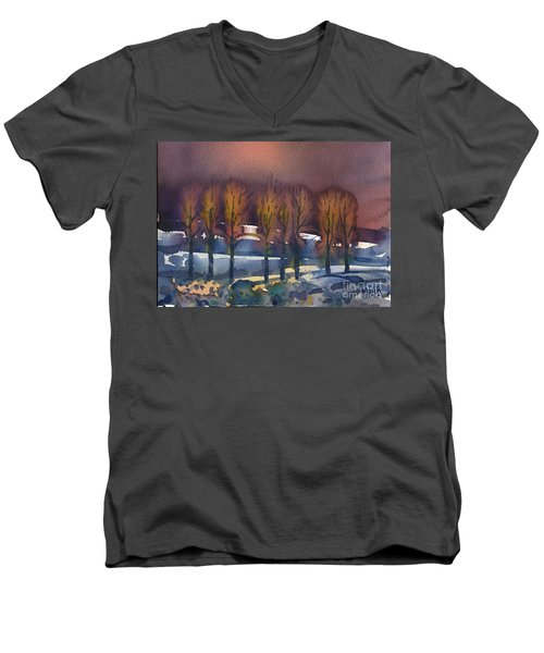 Men's V-Neck T-Shirt featuring the painting Winter Fantasy by Donald Maier