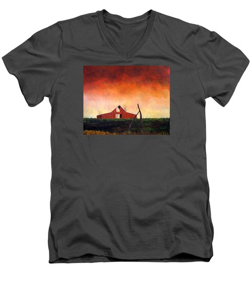 Men's V-Neck T-Shirt featuring the painting Wired Down by William Renzulli