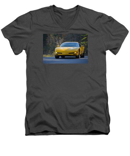 Yellow Corvette Men's V-Neck T-Shirt