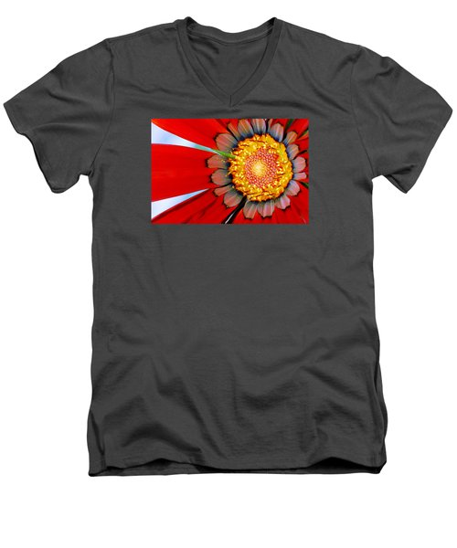 Men's V-Neck T-Shirt featuring the photograph Zinnia In Red by Wendy Wilton