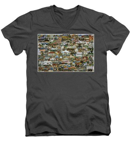 100 Painting Collage Men's V-Neck T-Shirt by Jennifer Lake