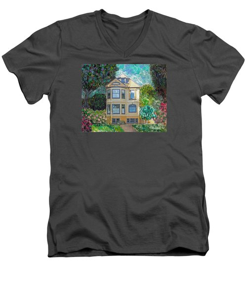 Men's V-Neck T-Shirt featuring the mixed media Alameda 1895 Quenn Anne by Linda Weinstock