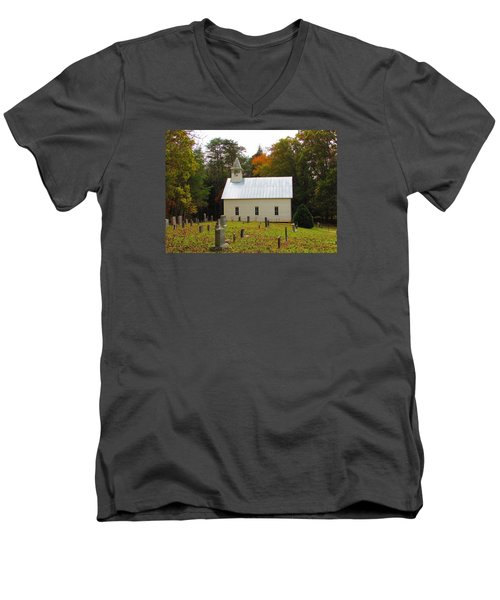 Cade's Cove 1902 Methodist Church Men's V-Neck T-Shirt
