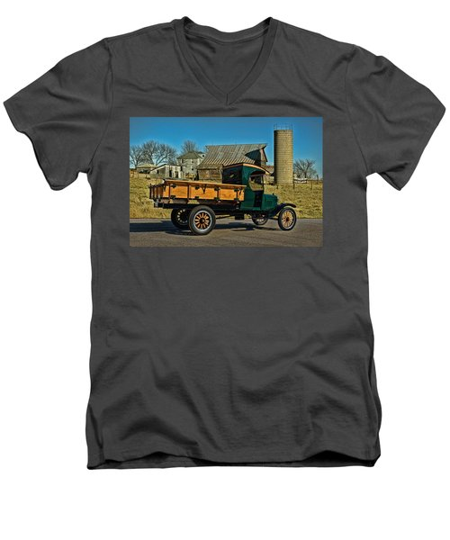 Men's V-Neck T-Shirt featuring the photograph 1923 Ford Model Tt One Ton Truck by Tim McCullough
