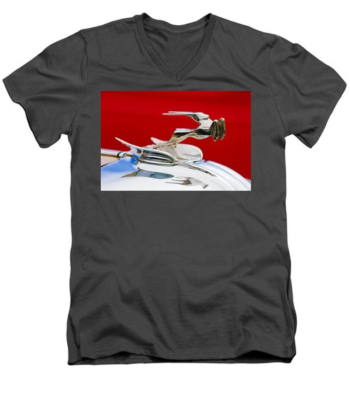 Men's V-Neck T-Shirt featuring the photograph 1931 Chrysler Coupe Hood Ornament by Jill Reger