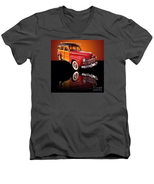 1947 Ford Woody Men's V-Neck T-Shirt by Jim Carrell