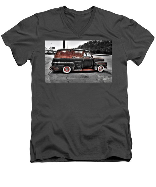 Men's V-Neck T-Shirt featuring the photograph 1948 Ford Panel Truck by Paul Mashburn
