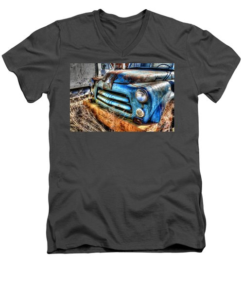 Men's V-Neck T-Shirt featuring the photograph 1954 Dodge Pickup by Paul Mashburn
