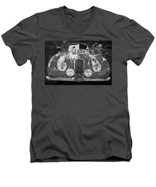 1954 Jaguar Xk 120 Se Ots Bw Men's V-Neck T-Shirt