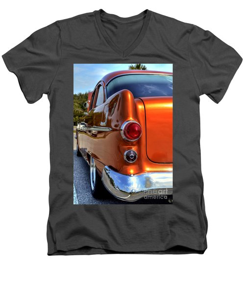 Men's V-Neck T-Shirt featuring the photograph 1955 Pontiac by Kathy Baccari