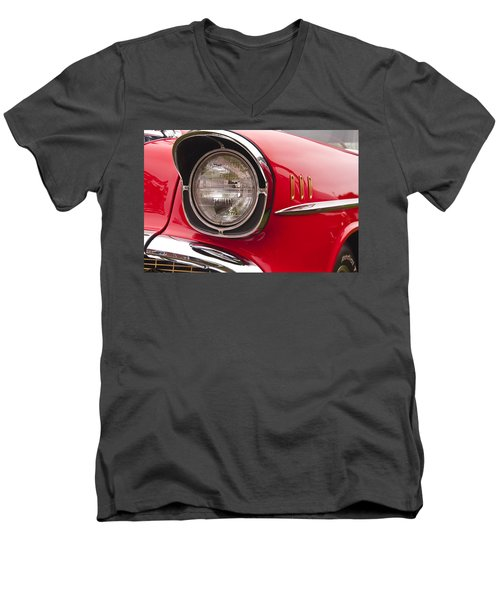 1957 Chevrolet Bel Air Headlight Men's V-Neck T-Shirt