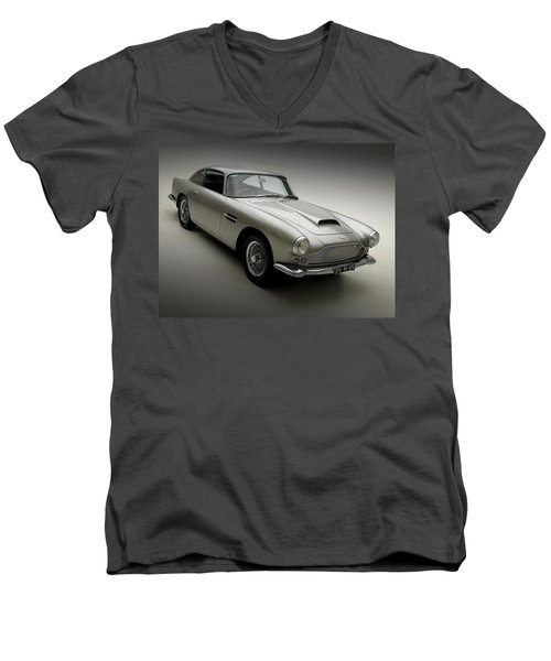 Men's V-Neck T-Shirt featuring the photograph 1958 Aston Martin Db4 by Gianfranco Weiss