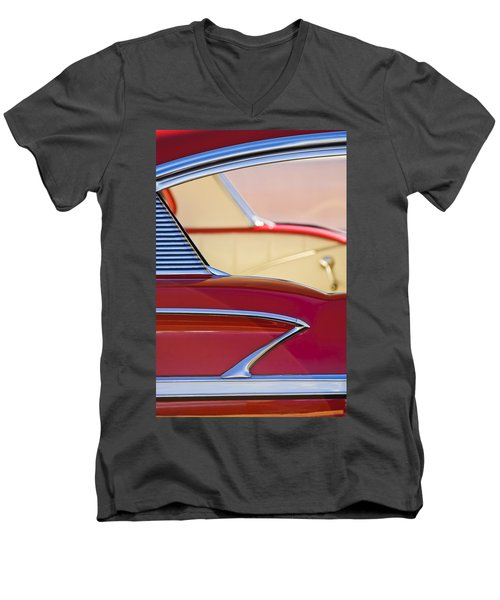 Men's V-Neck T-Shirt featuring the photograph 1958 Chevrolet Belair Abstract by Jill Reger