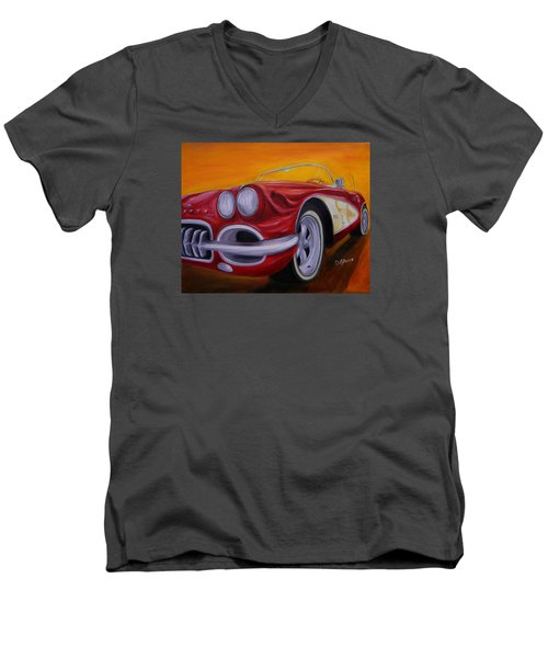 1960 Corvette - Red Men's V-Neck T-Shirt