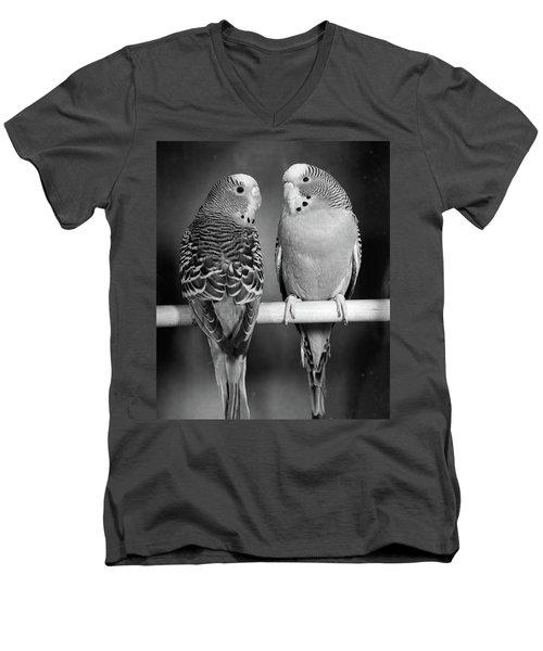 1960s Pair Of Parakeets Perched Men's V-Neck T-Shirt