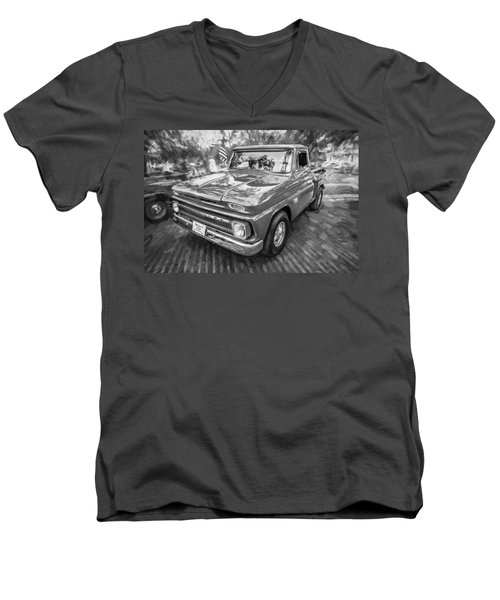1966 Chevy C10 Pick Up Truck Painted Bw Men's V-Neck T-Shirt