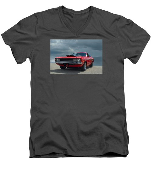 Men's V-Neck T-Shirt featuring the photograph 1972 Dodge Demon by Tim McCullough