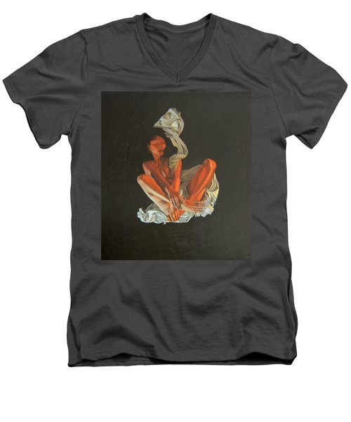 Men's V-Neck T-Shirt featuring the painting 2 30 Am by Thu Nguyen