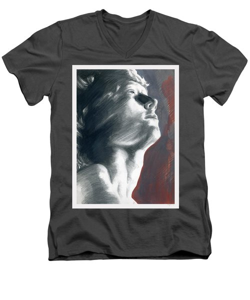 Men's V-Neck T-Shirt featuring the painting A Boy Named Faith by Rene Capone
