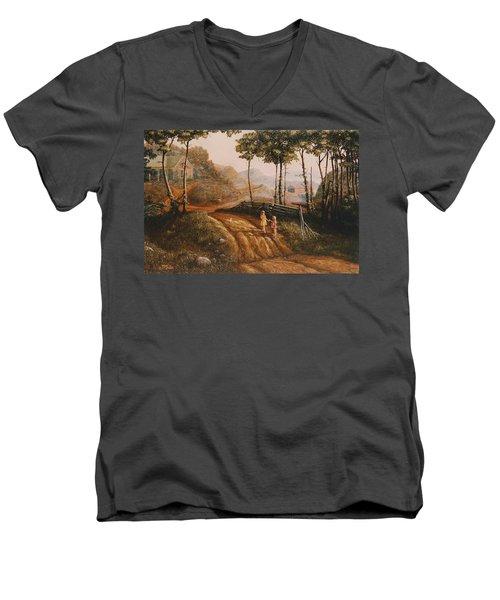 A Country Lane Men's V-Neck T-Shirt by Duane R Probus