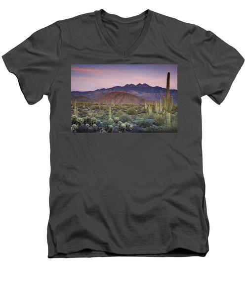 A Desert Sunset  Men's V-Neck T-Shirt by Saija  Lehtonen