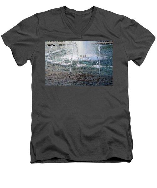 Men's V-Neck T-Shirt featuring the photograph A World War Fountain by Cora Wandel