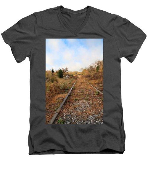 Abandoned Tracks Men's V-Neck T-Shirt by Melinda Fawver