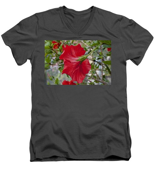 Abstract Hibiscus Men's V-Neck T-Shirt