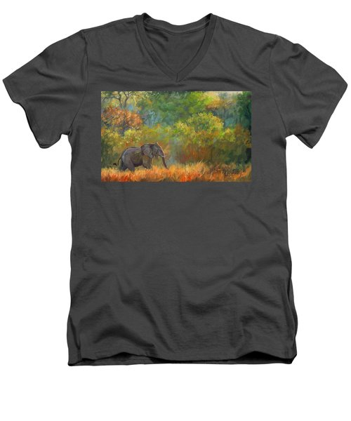 African Elephant Men's V-Neck T-Shirt by David Stribbling