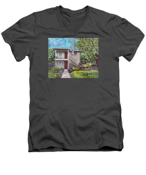 Men's V-Neck T-Shirt featuring the painting Alameda 1908 Duplex  by Linda Weinstock