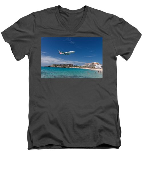 American Airlines At St Maarten Men's V-Neck T-Shirt by David Gleeson