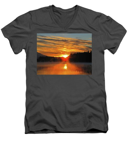 American Lake Sunrise Men's V-Neck T-Shirt by Tikvah's Hope