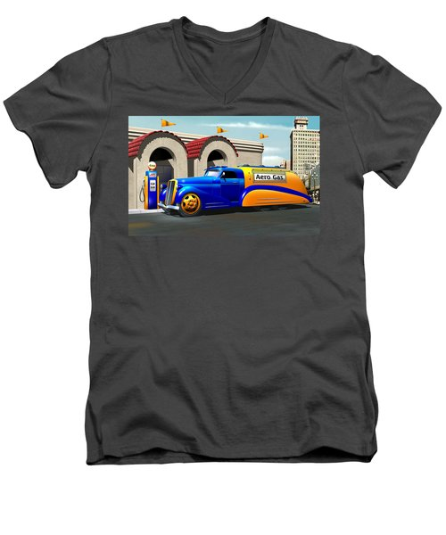 Art Deco Gas Truck Men's V-Neck T-Shirt by Stuart Swartz