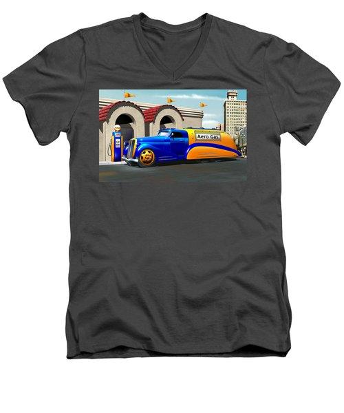 Art Deco Gas Truck Men's V-Neck T-Shirt